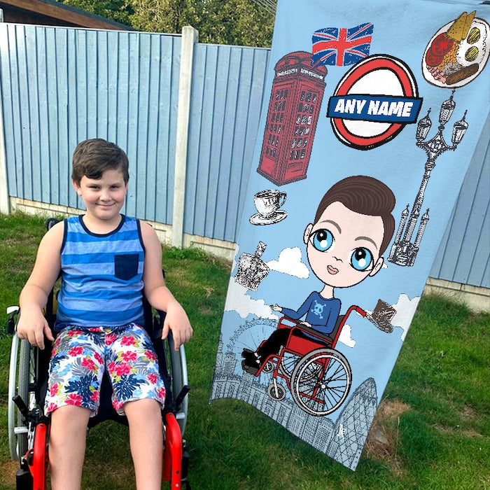 Jnr Boys Love London Wheelchair Beach Towel - Image 1