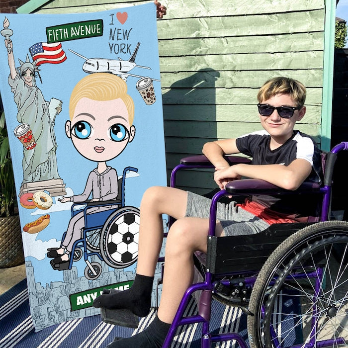 Jnr Boys Love NY Wheelchair Beach Towel - Image 1