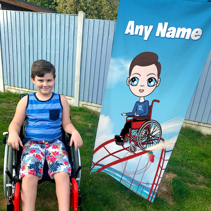 Jnr Boys Thrill Seeker Wheelchair Beach Towel - Image 1