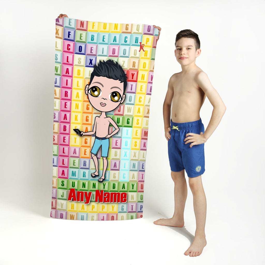 Jnr Boys Word Search Beach Towel - Image 1