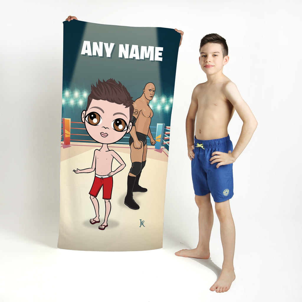 Jnr Boys Wrestling Champion Beach Towel - Image 1