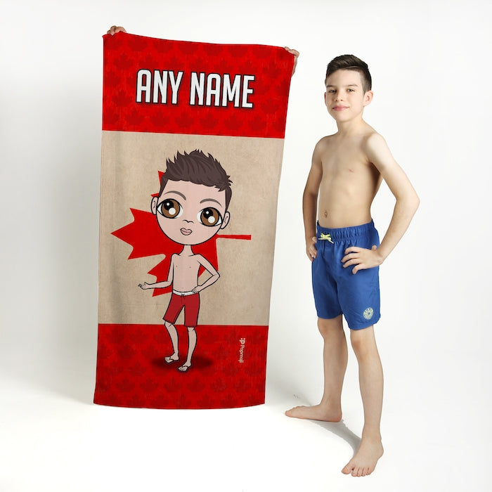 Jnr Boys Love Canada Flag Beach Towel - Image 1