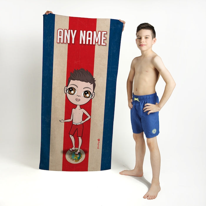 Jnr Boys Love Costa Rica Flag Beach Towel - Image 1