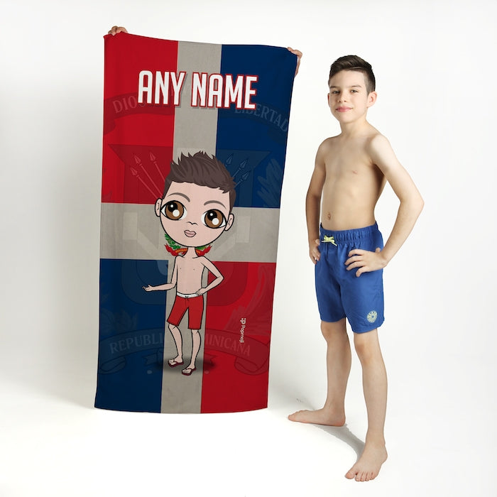 Jnr Boys Love Dominican Republic Flag Beach Towel - Image 1