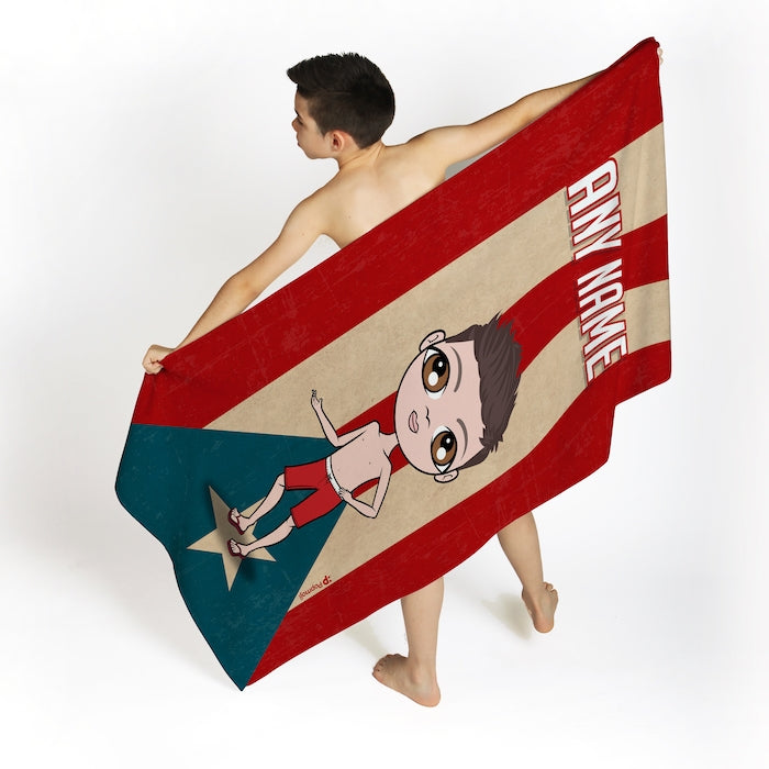 Jnr Boys Love Puerto Rico Flag Beach Towel - Image 1