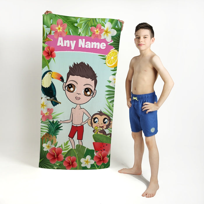 Jnr Boys Tropical Fun Beach Towel - Image 1
