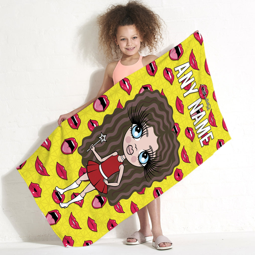 ClaireaBella Girls Funky Lips Beach Towel - Image 1