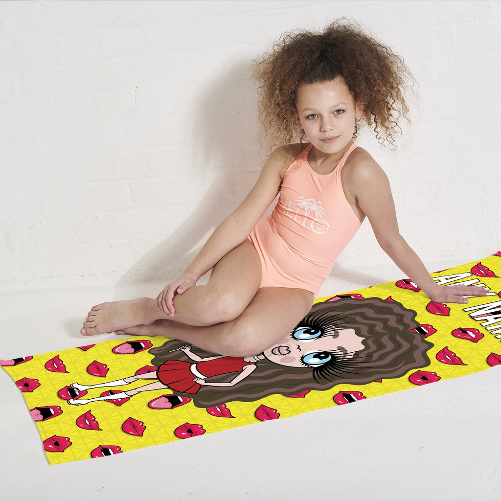 ClaireaBella Girls Funky Lips Beach Towel - Image 3