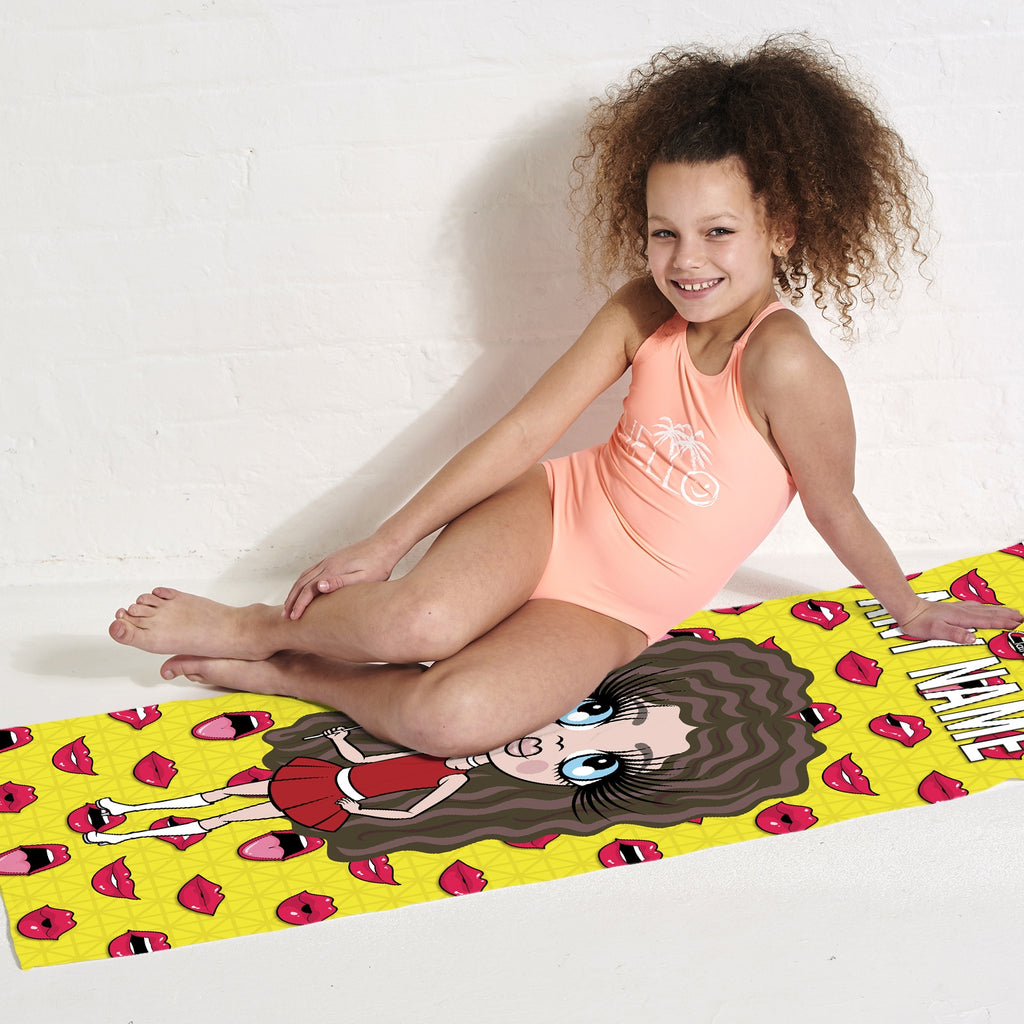 ClaireaBella Girls Funky Lips Beach Towel - Image 5