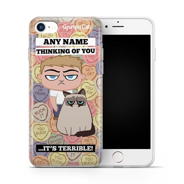 Grumpy Cat Lovehearts Phone Case - Image 1