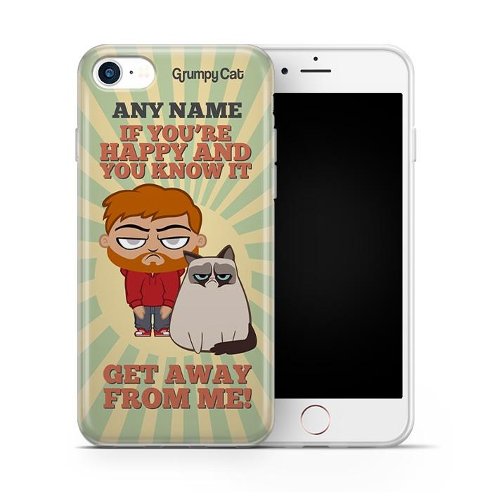 Grumpy Cat Happy Phone Case - Image 0