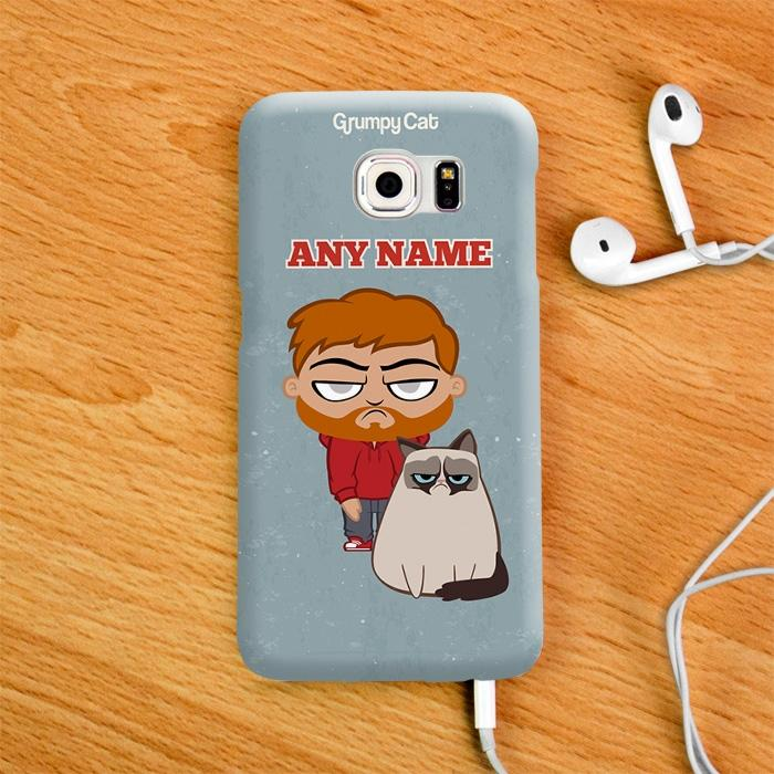Grumpy Cat Blue Phone Case - Image 1
