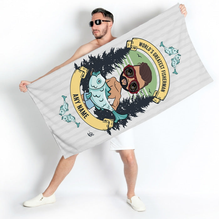 MrCB Greatest Fisherman Beach Towel - Image 1