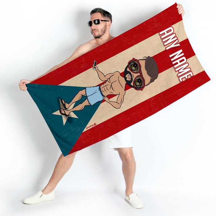 MrCB Love Puerto Rico Flag Beach Towel - Image 1