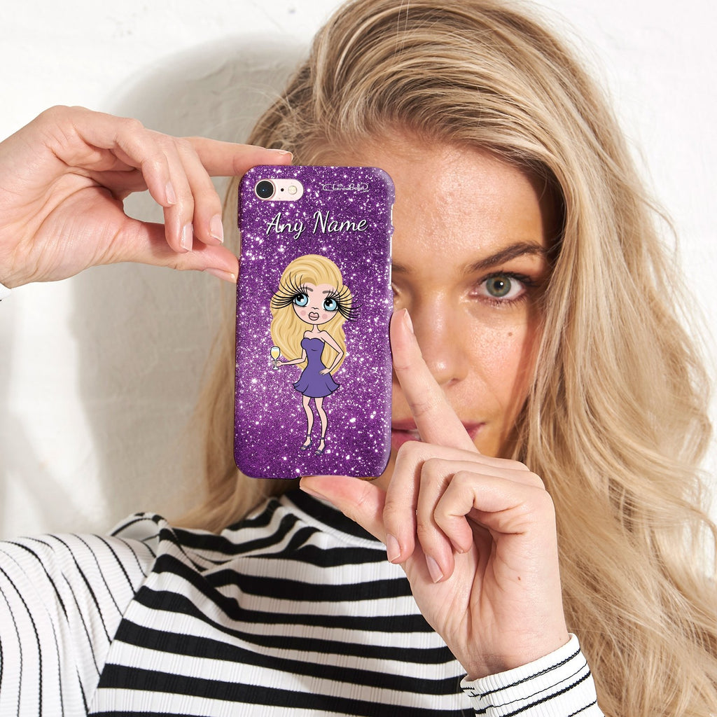 ClaireaBella Personalized Glitter Effect Phone Case - Purple - Image 3