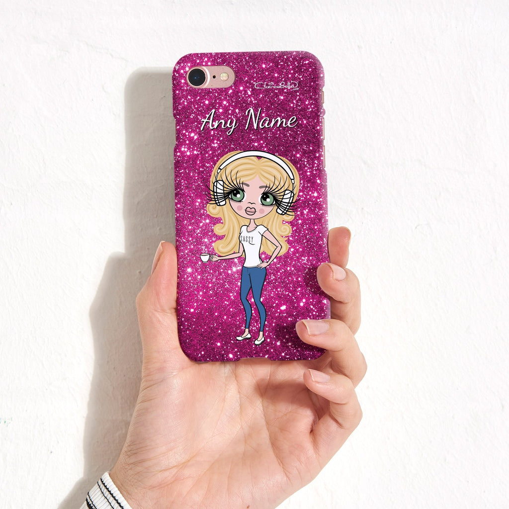 ClaireaBella Personalized Glitter Effect Phone Case - Pink - Image 3