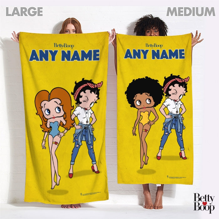 Betty Boop Yellow Girl Power Beach Towel - Image 4