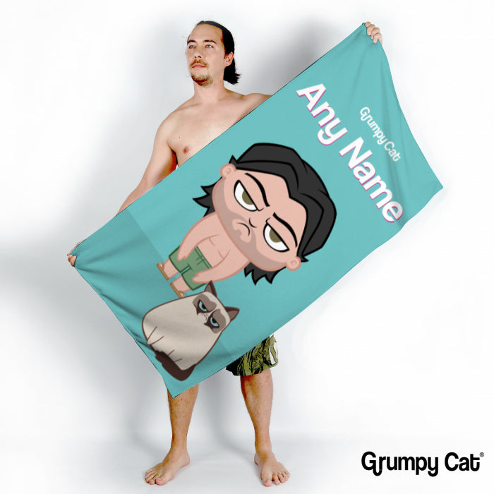 Grumpy Cat Turquoise Beach Towel