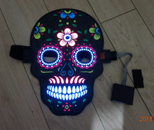 Load image into Gallery viewer, Day of the Dead LED Skull Mask