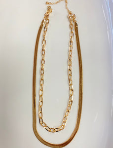 layered gold linked necklace