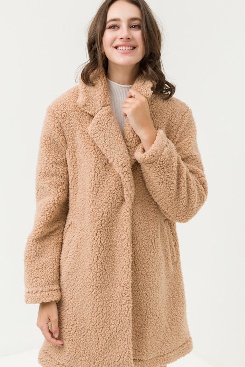 Camel Soft Teddy Coat
