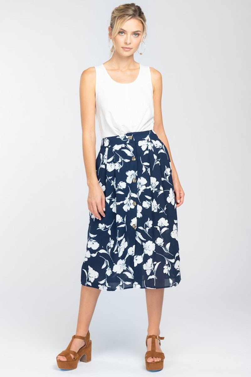 Navy with White Floral Midi Skirt
