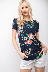 Navy Floral Comfy Tee