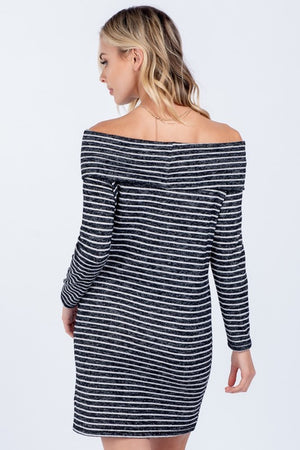 Soft Striped Off Shoulder Dress