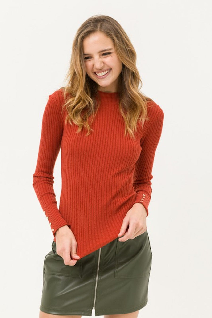 Button Sleeve Detailed Sweater in Rust