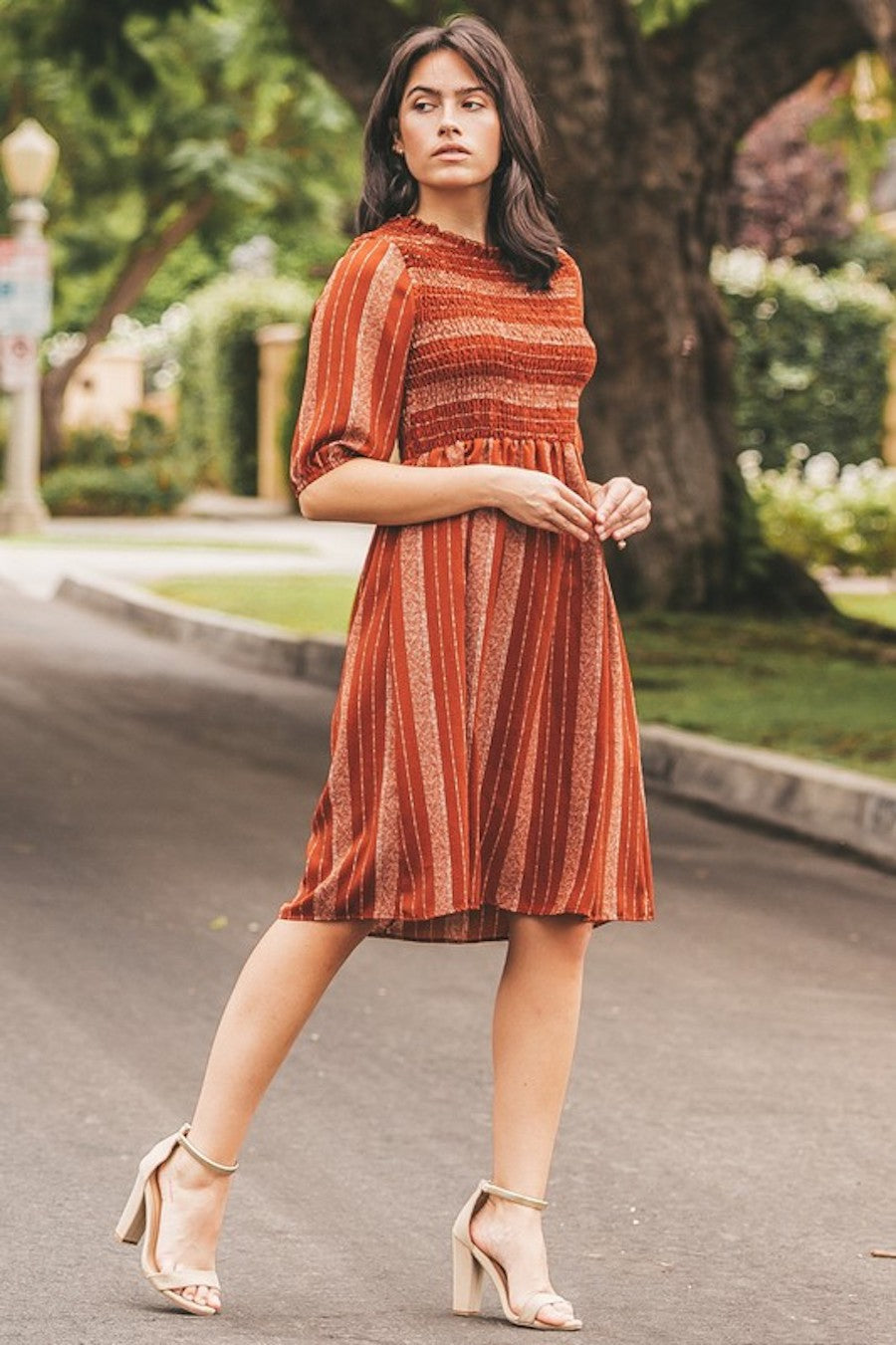 Pumpkin Spice Smocked Dress