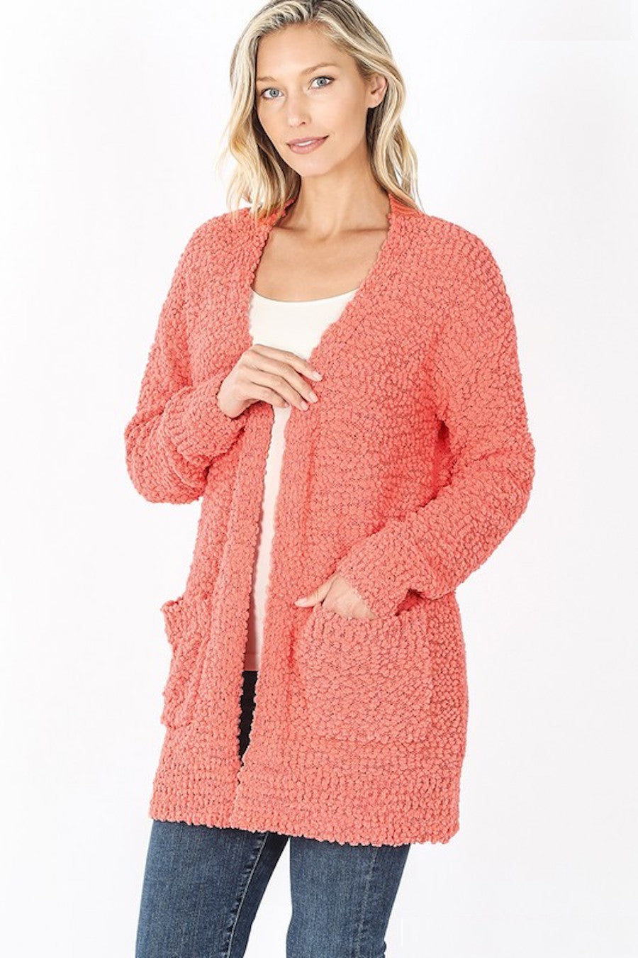 Popcorn Pocket Cardigan in Coral