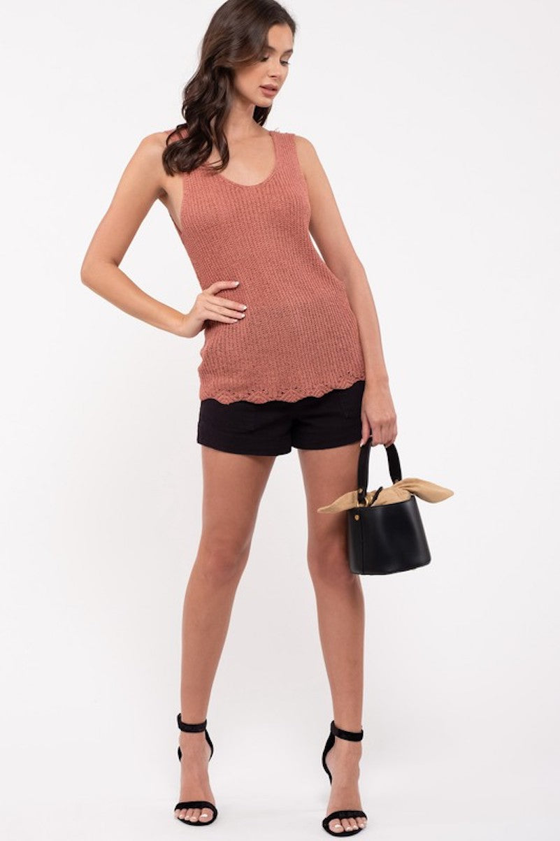 Knit Tank in Rose