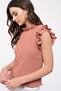 Double Ruffle Blouse in Terra Cotta