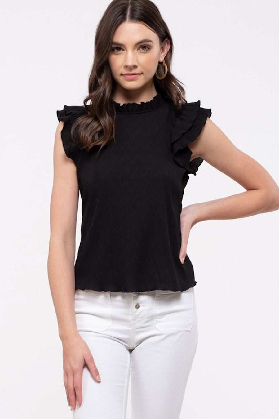 Double Ruffle Blouse in Black