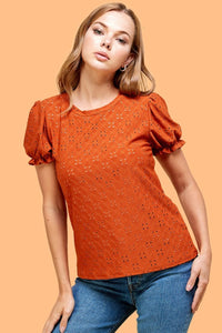 Emily's Eyelet top in Pumpkin