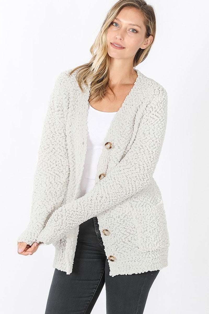 Cream Popcorn Button Cardigan