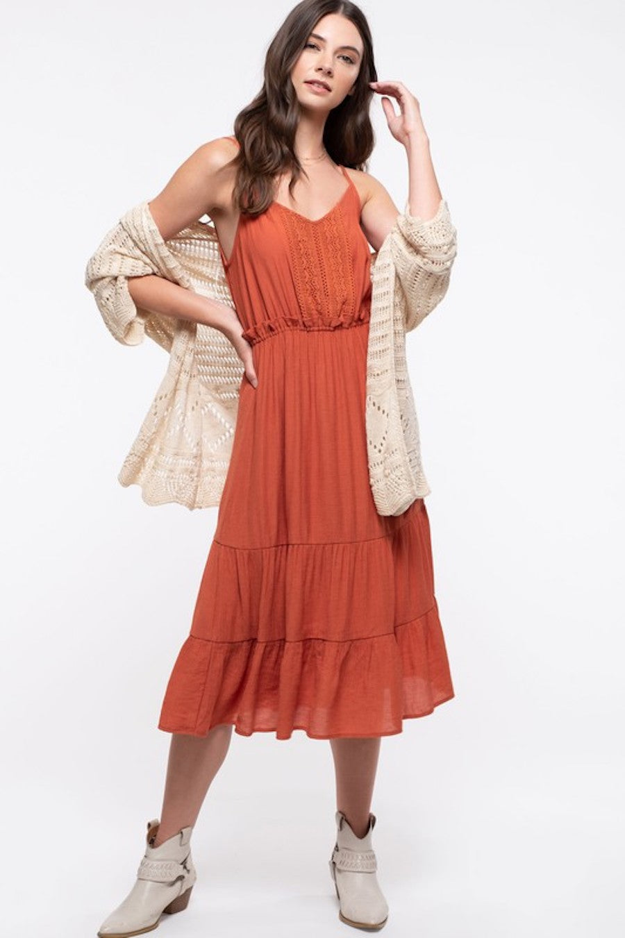 Layered Pumpkin Midi Dress
