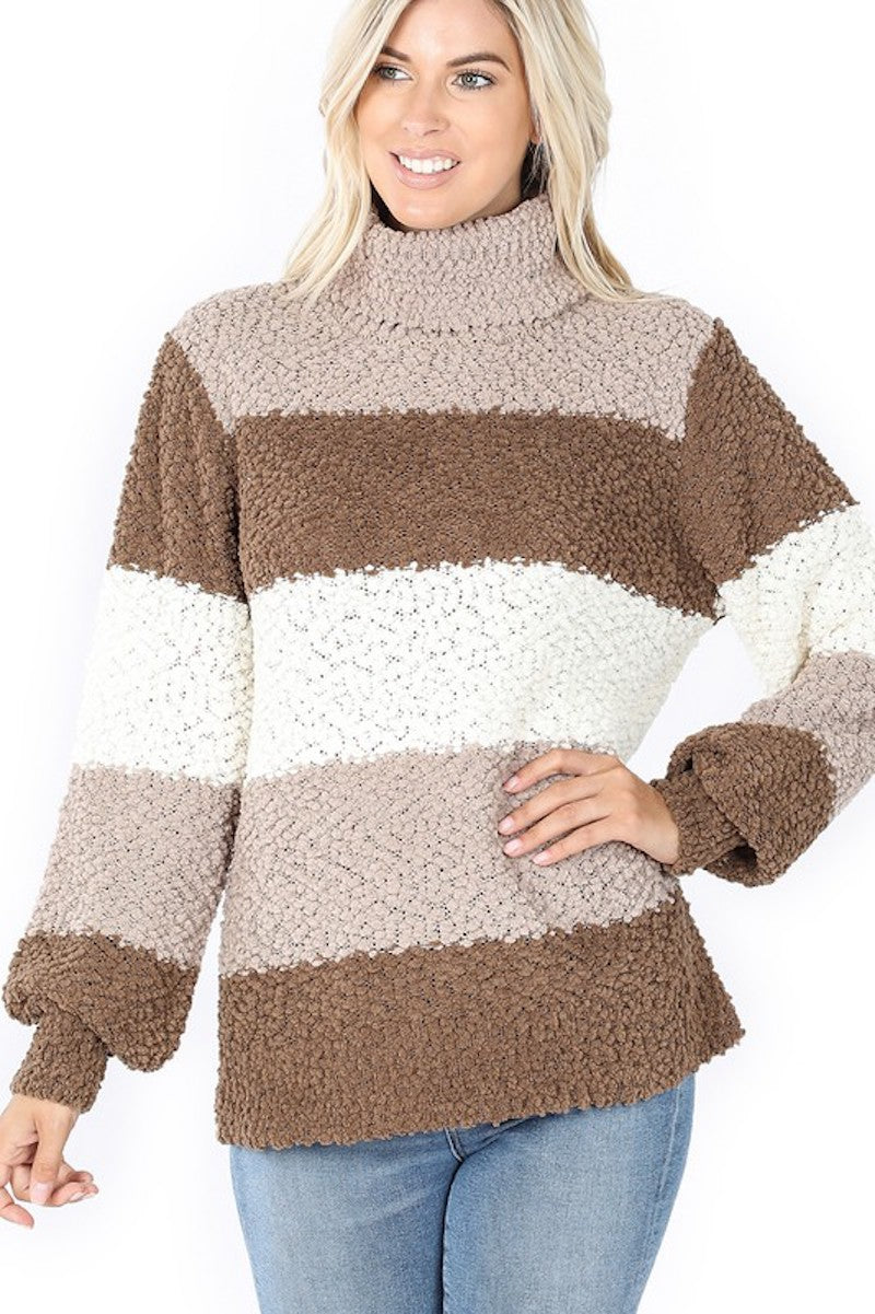 Shades of Mocha Popcorn Sweater