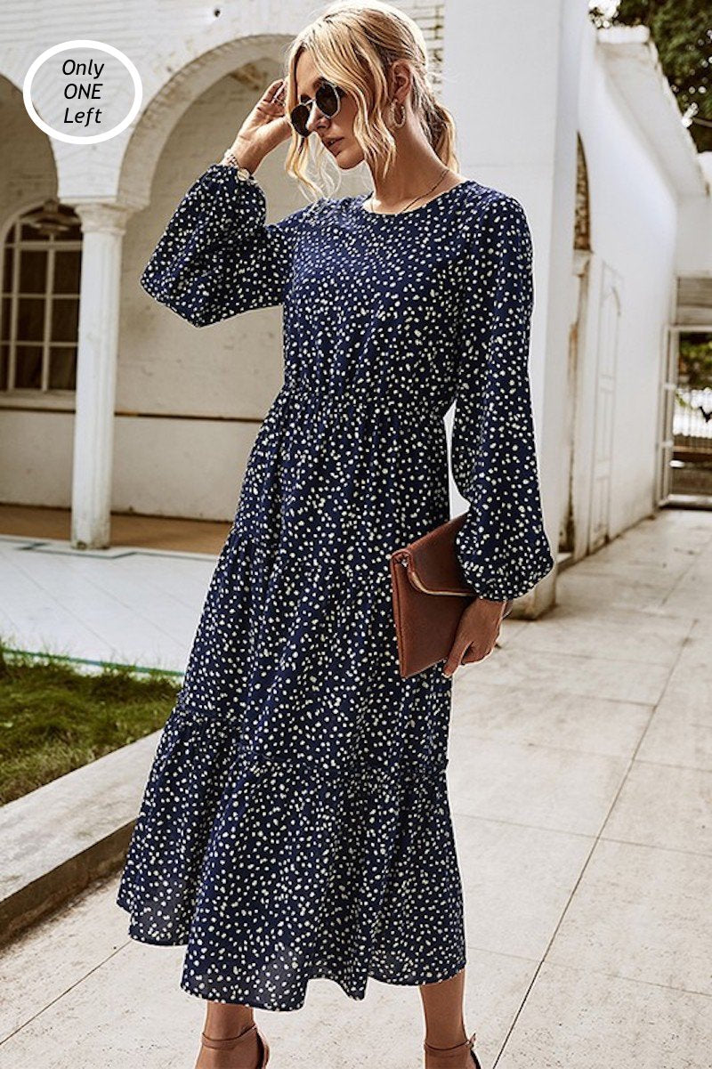 FULL OF NAVY DOTS MIDI