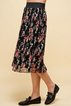 Pleated Fall Floral Skirt