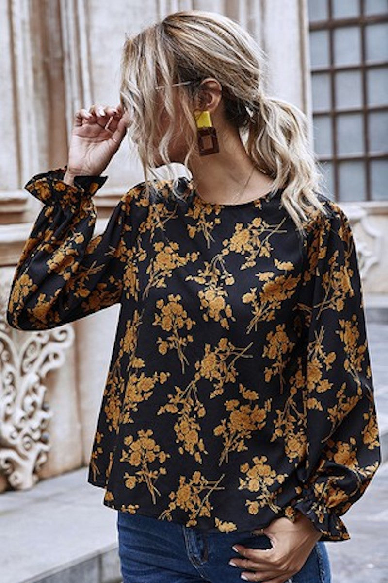 Golden Fall Floral Blouse