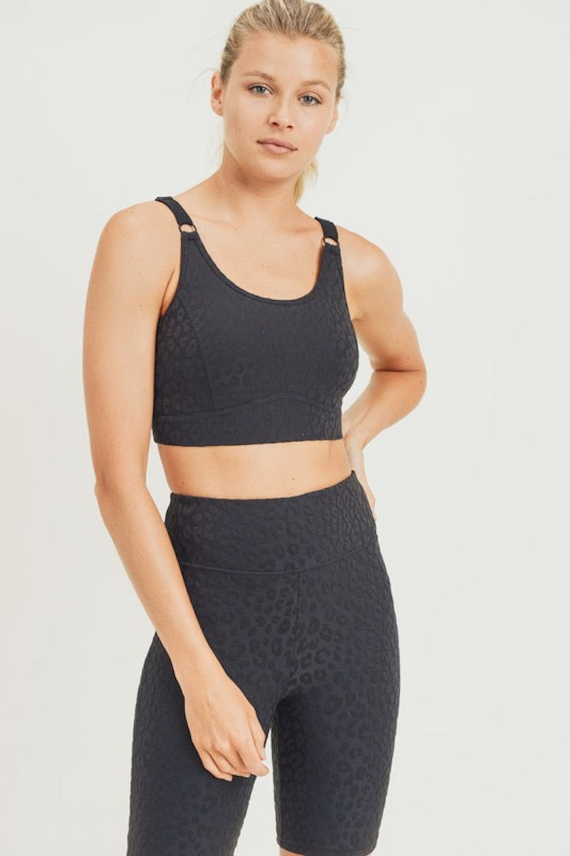 Black Textured Leopard Sports Bra