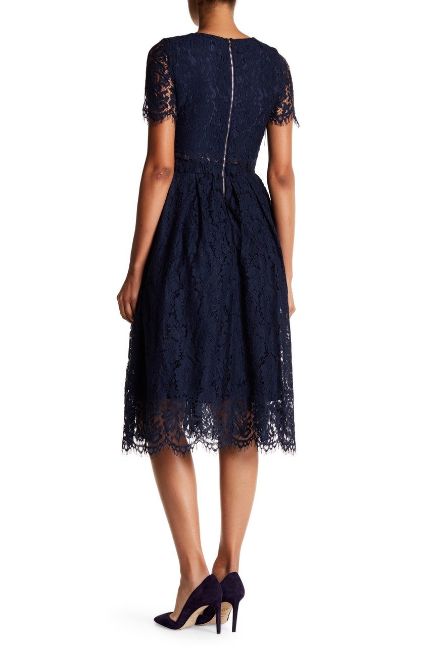 Navy Princess Lace Midi