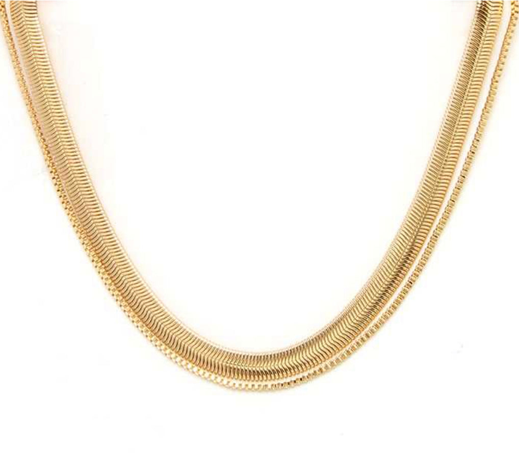 2 layered gold necklace