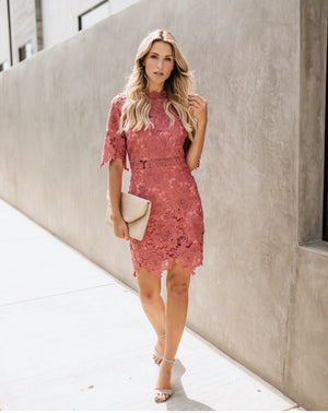 Rose Crochet Overlay Dress