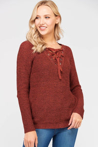Lace up Sweater in Rust