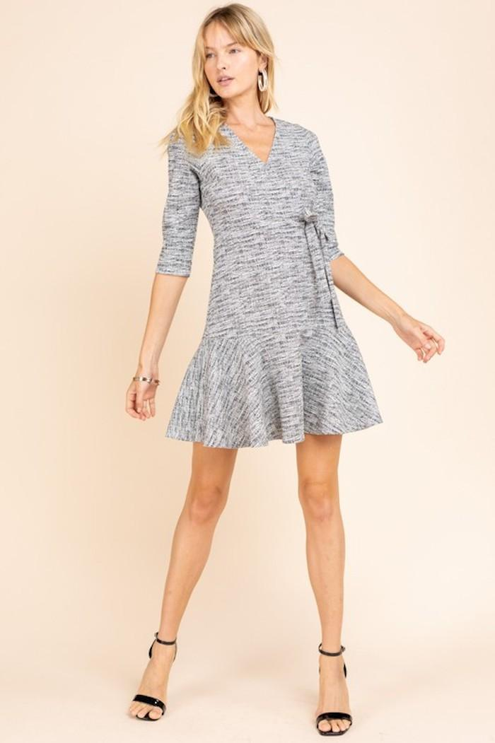 Speckled Wrap Dress