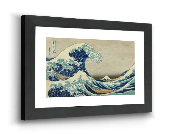 Framed print wall art in a horizontal 3D view