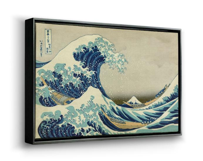 Framed canvas wall art in a horizontal 3D view