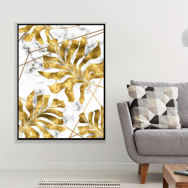 Gold Leaves Canvas Set